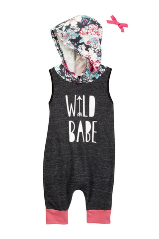 Wild Babe Charcoal & Floral Tank Hooded Romper