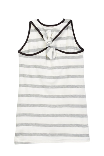 Wild Hair Don't Care Gray Striped Tank Racerback Knotted Dress