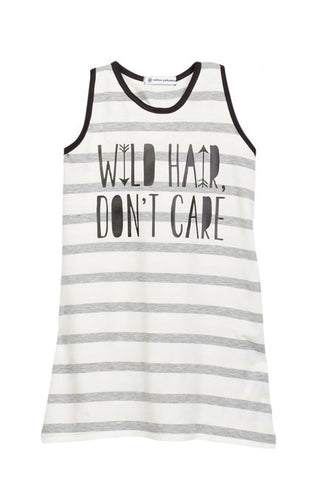 Wild Hair Don't Care Gray Striped Racerback Knotted Tank Dress