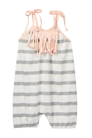 Gray & Ivory Striped Fringe Bubble Romper
