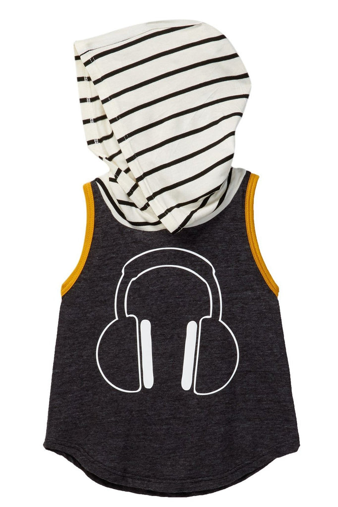 Headphones Charcoal & Striped Hooded Tank Tee