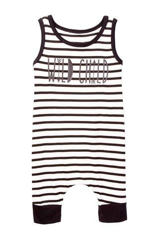 Wild Child Ivory Striped Tank Shorts Romper