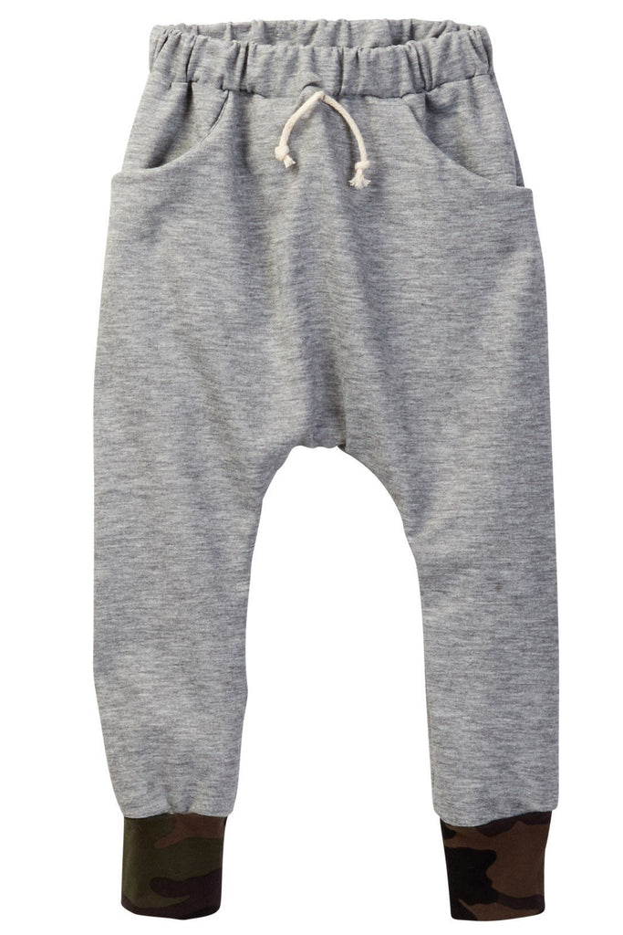 Heather Gray & Camo Cuff Jogger Pocket Pants