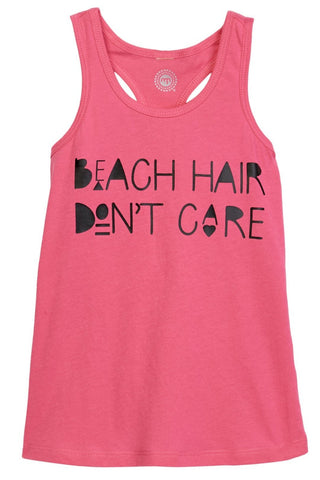 Beach Hair Don't Care Hot Pink Racerback Tank Top