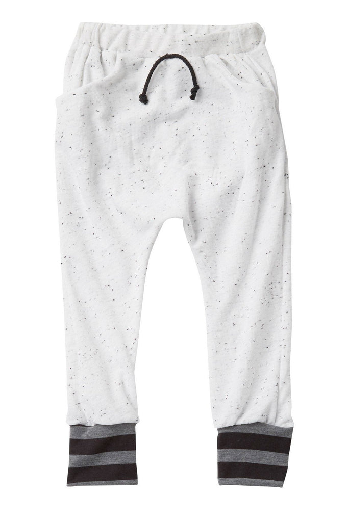 White Speckled with Cuff Pocket Jogger Pants