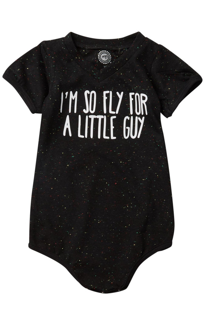 I'm So Fly for a Little Guy Black Speckled V-neck Bodysuit