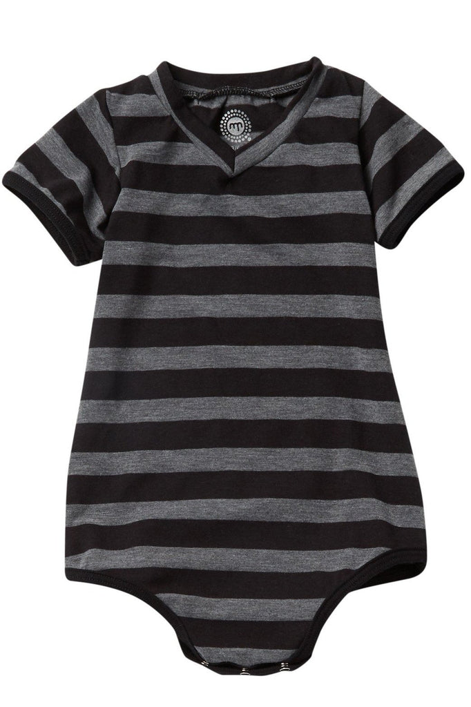Black & Gray Striped V-neck Bodysuit