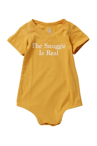 The Snuggle is Real Mustard V-neck Bodysuit