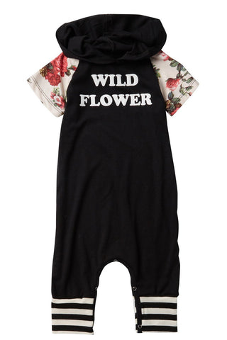 Wild Flower Short-Sleeve Hooded Raglan Romper