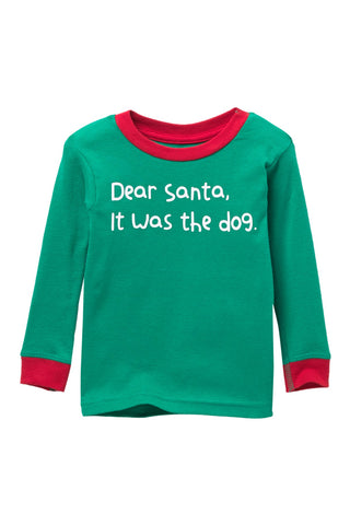 Dear Santa, It was the Dog. Green Pajama Top