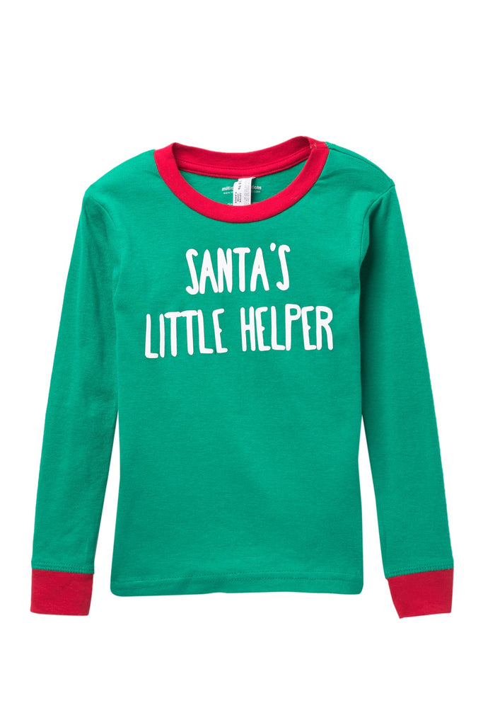 Santa's Little Helper Green Pajama Top