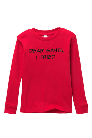 Dear Santa, I Tried Red Pajama Top