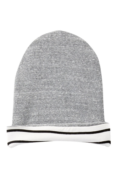 Heather Gray & Ivory Striped Reversible Beanie