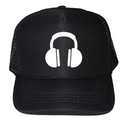 Headphones Black Trucker Cap