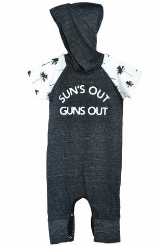 Charcoal Sun's Out Guns Out Palm Tree Sleeve Hooded Romper
