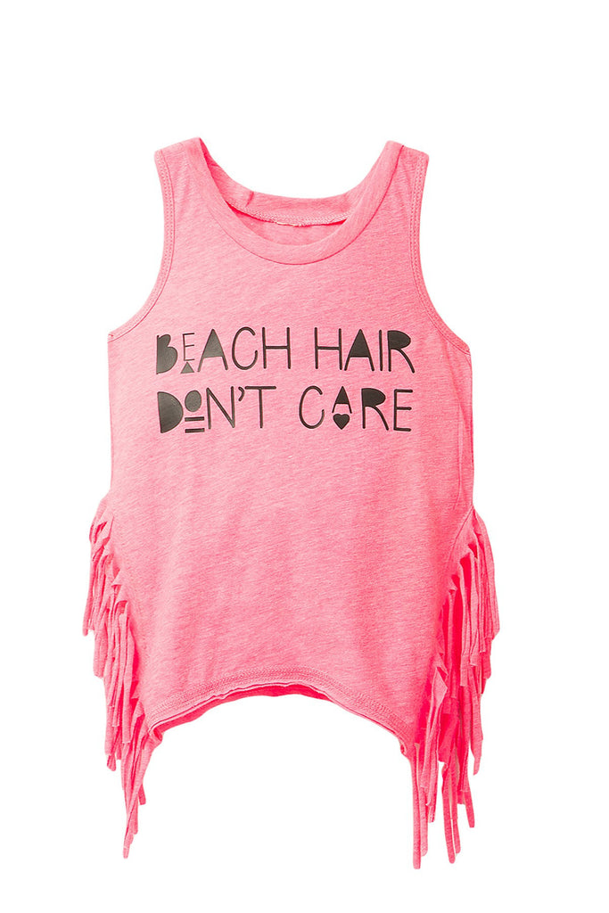 Beach Hair Don't Care Fringe Pink Tank Top