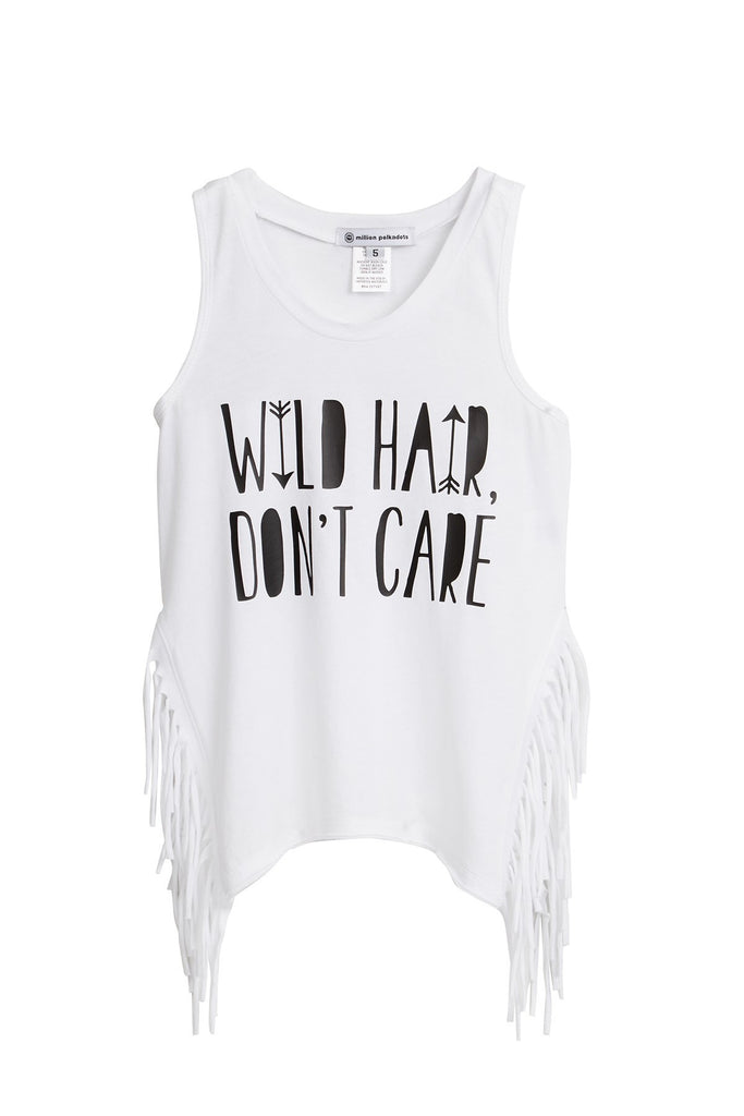 White Wild Hair Don't Care Fringe Tank Top