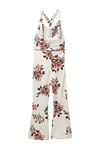 Gray Floral Overall Jumpsuit