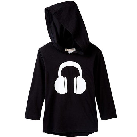 Headphones Black Hooded Tee