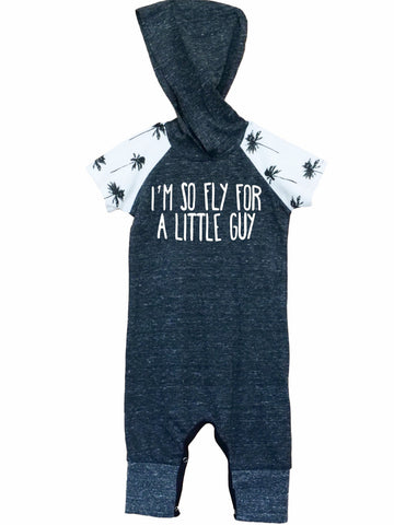 I'm So Fly for a Little Guy Short-Sleeve Raglan Palm Trees Hooded Romper