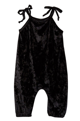 Black Crushed Velvet Jumpsuit