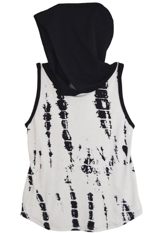 Tan Splattered & Black Hooded Tank Top