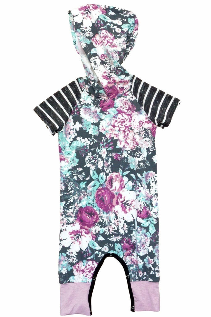 Charcoal Floral Short Sleeve Hooded Romper