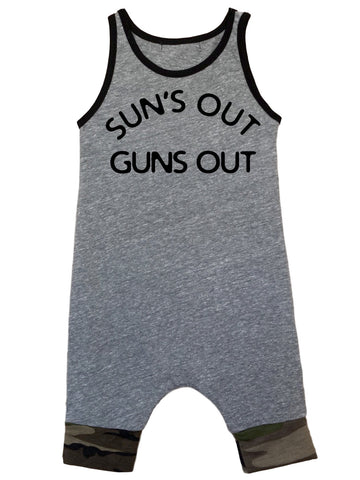 Sun's Out Guns Out Heather Gray Tank Romper