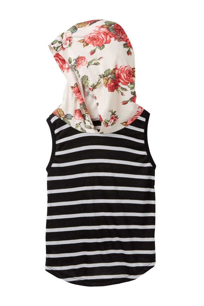 Black Striped & Ivory Floral Hooded Tank Tee
