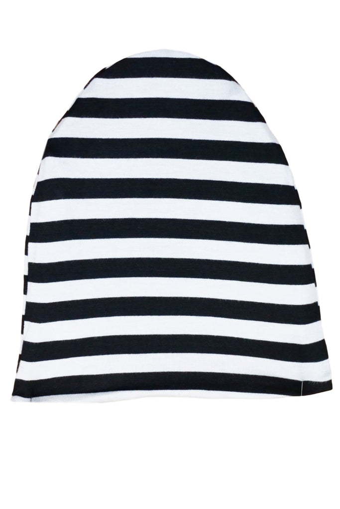 Black & White Striped /Heather Gray Reversible Beanie