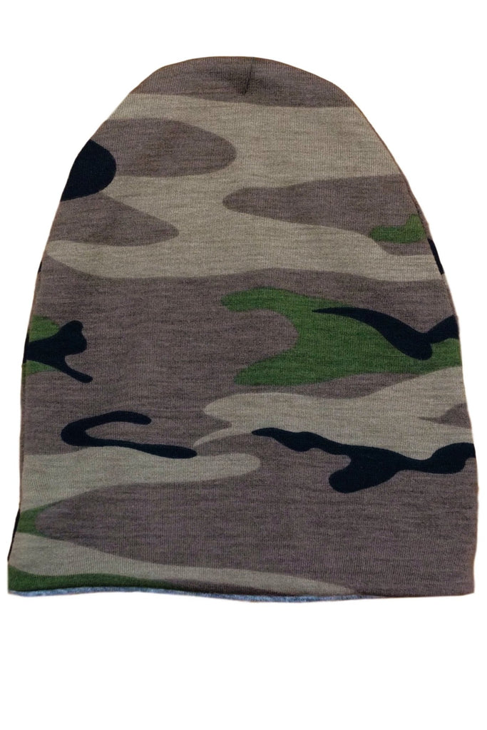 Green Camo /Heather Gray Reversible Beanie