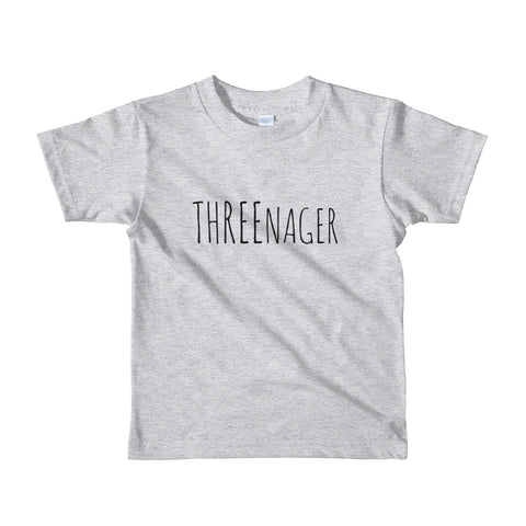 Threenager Gender Neutral Short sleeve kids t-shirt, 4 color options
