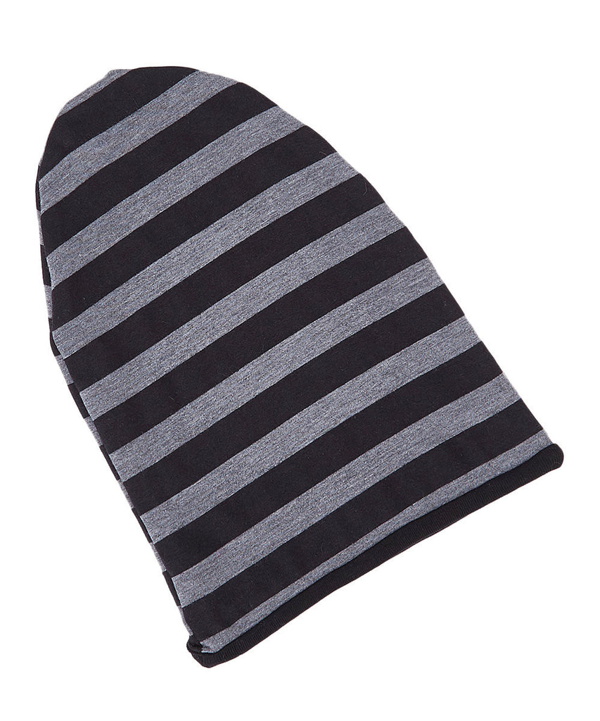 Black & Gray Striped Reversible Beanie