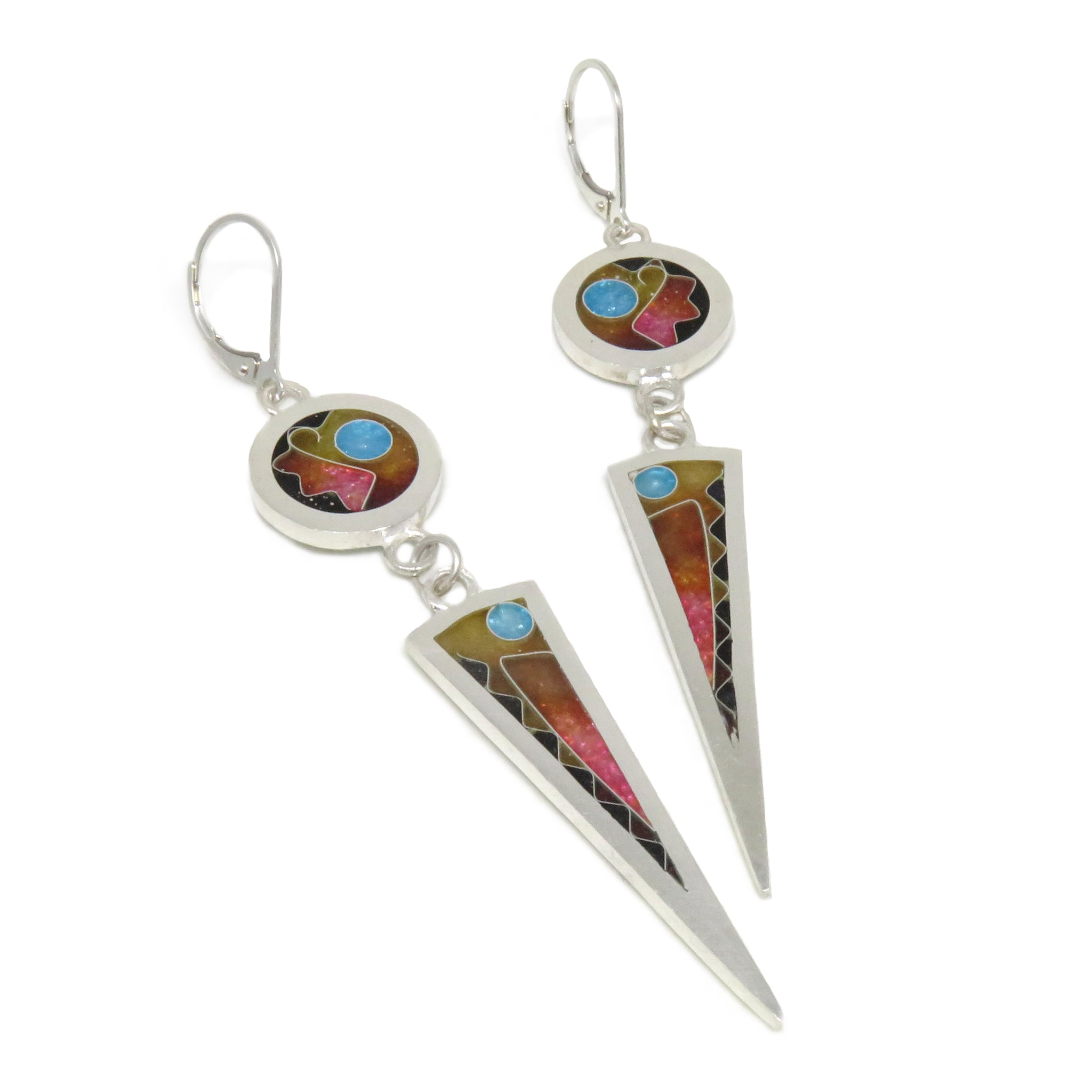 Circle/Long Triangle Earrings Sun