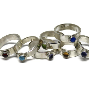 Wide Band Sterling Silver Stacking Rings with Stones