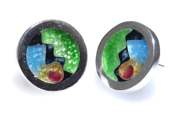 Cloisonné Circle Post Earrings
