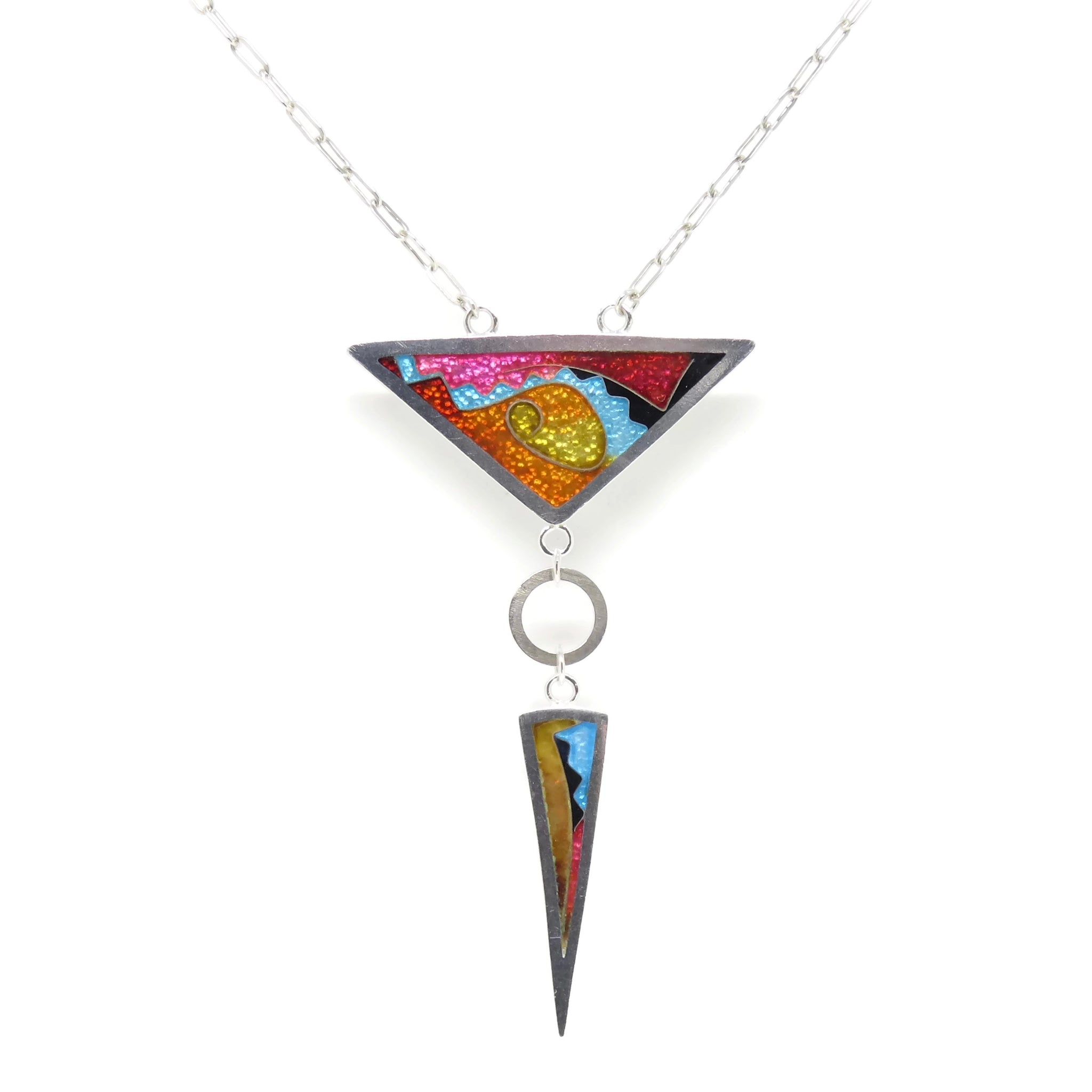 Cloisonné Large Triangle/Long Triangle Necklace Sun