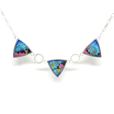 Cloisonne Three Triangle Necklace