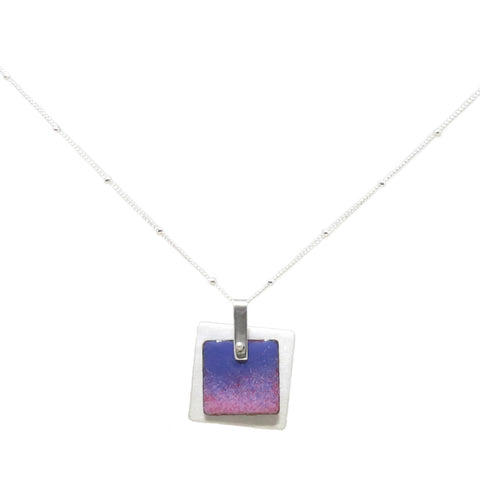 Square Enamel Pendant Pink/Purple