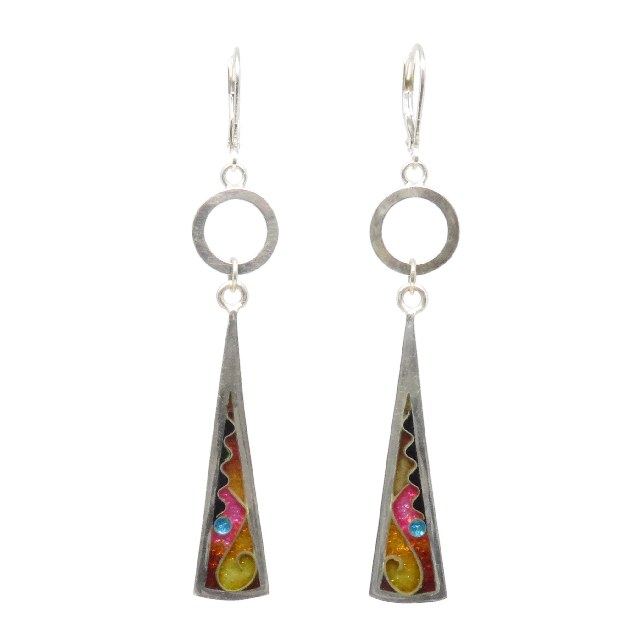 Cloisonné Long Triangle Earrings with Silver Washers Sun
