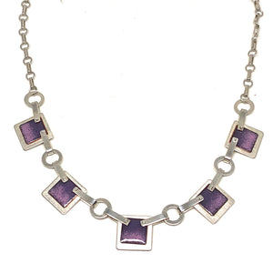 5 Square Necklace Pink/Purple