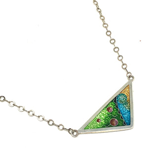 Cloisonné Triangle Necklace Meadow