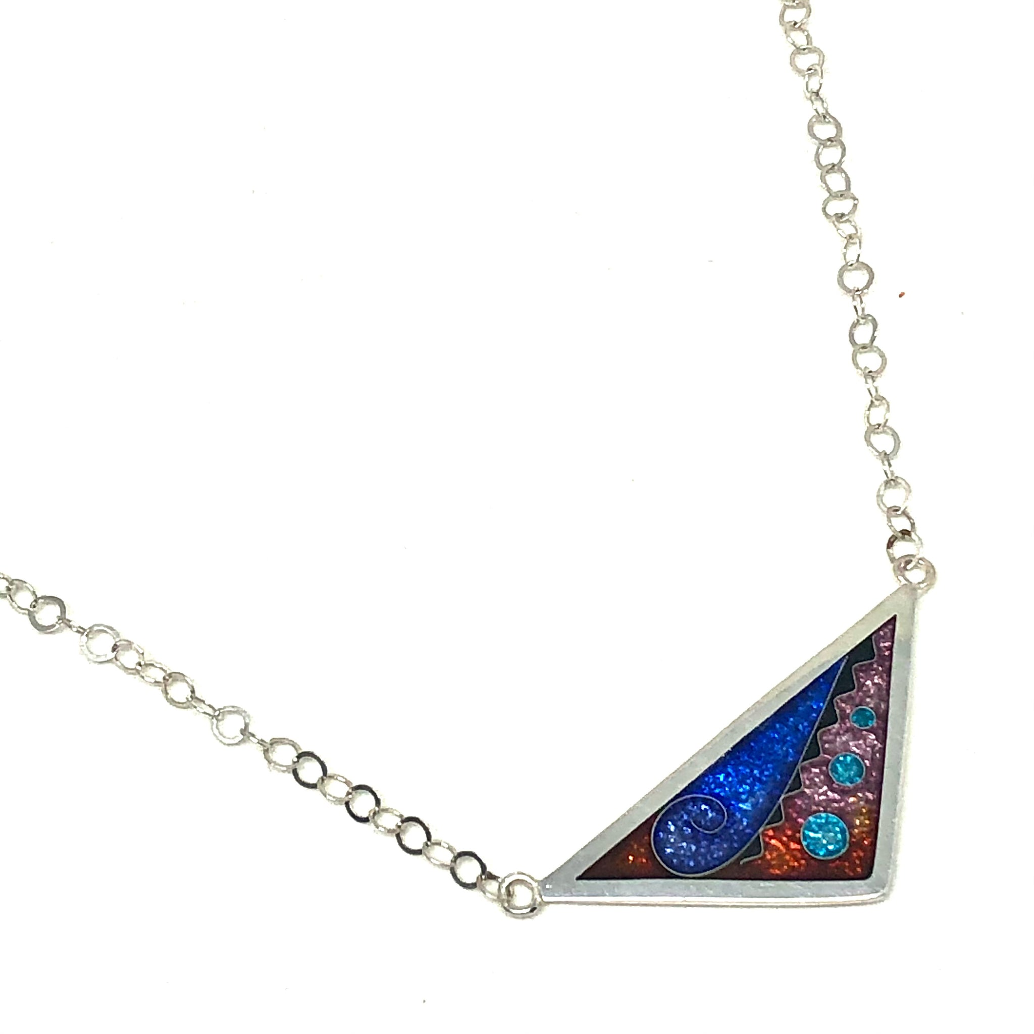 Cloisonné Triangle Necklace Galaxy