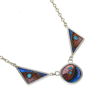 Cloisonné Large Square/Triangle Necklace Galaxy