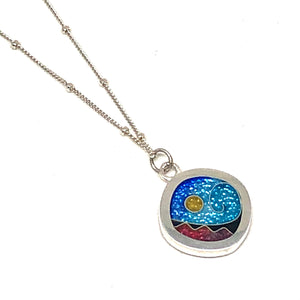 Small Rounded Square Pendant Ocean
