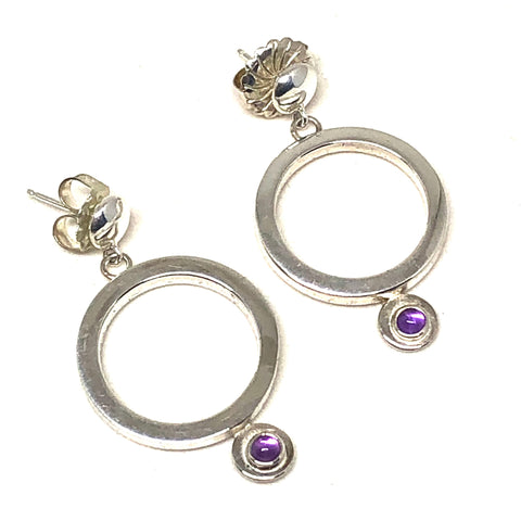 Hanging Hoop Earrings Amethyst
