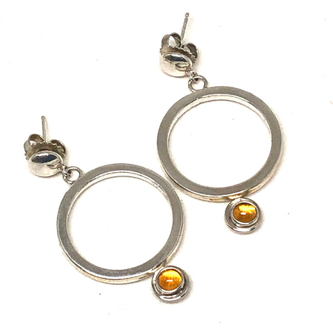 Hanging Hoop Earrings Citrine