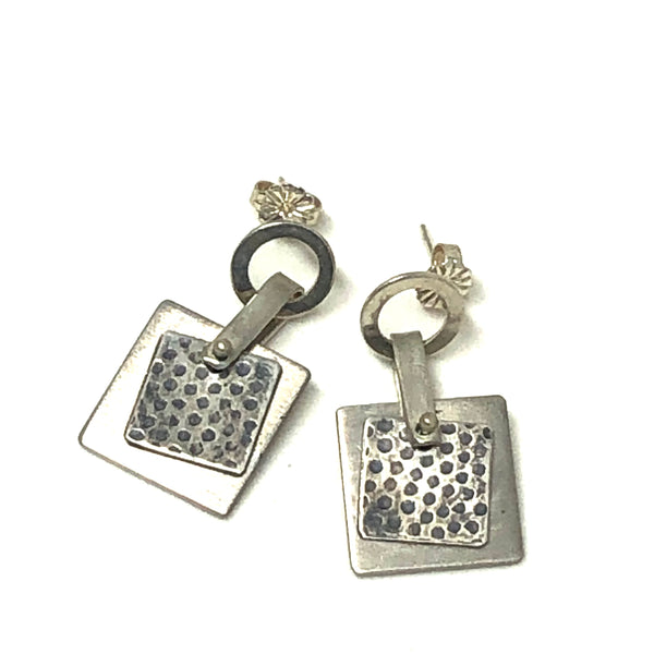 Silver Square Hanging Earrings