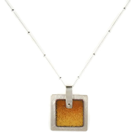 Square Enamel Pendant Yellow/Orange