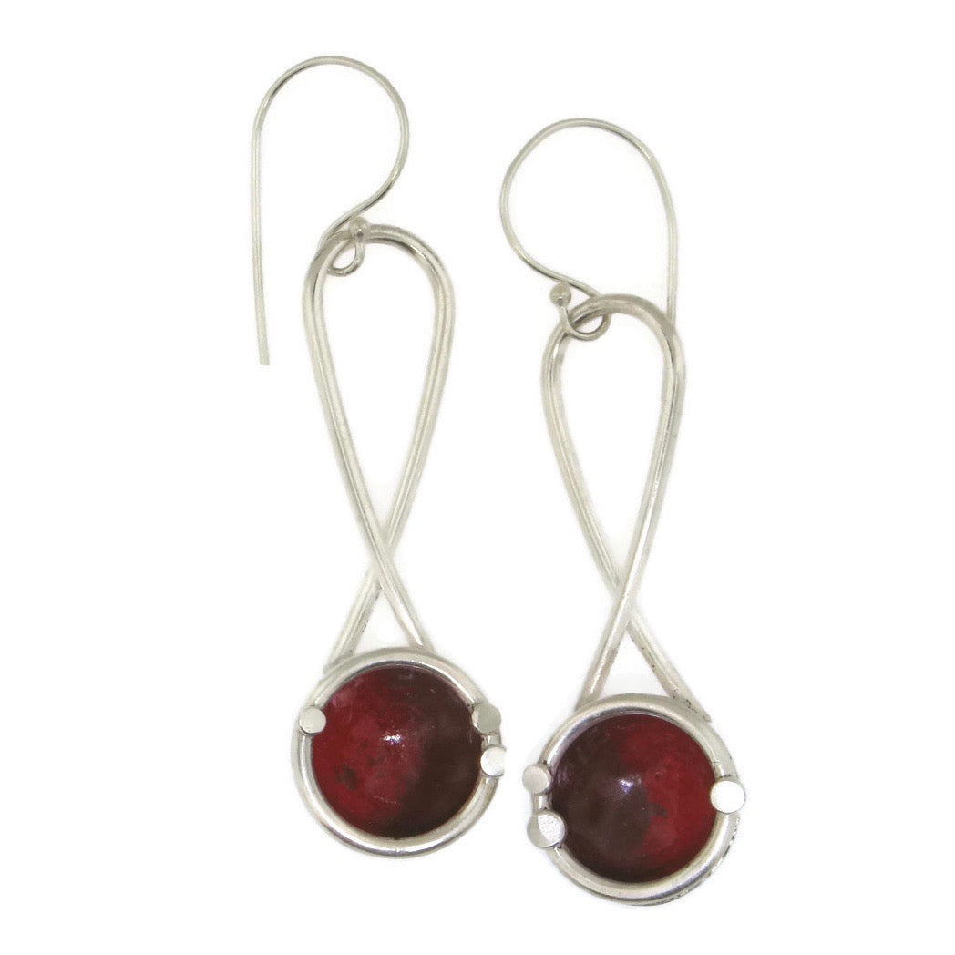 Hanging Enamel Dome Earrings Red